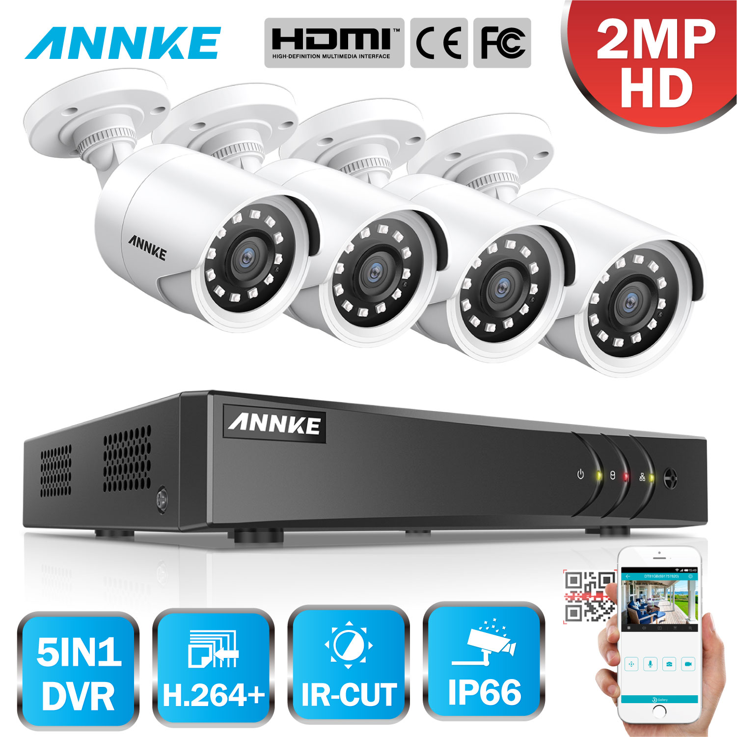 ANNKE 1080P 8CH Video Security System H.264+ 1080N DVR With 4PCS 2MP HD Smart IR Bullet Waterproof Camera Surveillance CCTV Kit