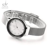 2018 Shengke Brand New Luxury Women Watches Stainless Steel Rose Golden Watch Mesh Belt Rhinestones Quartz