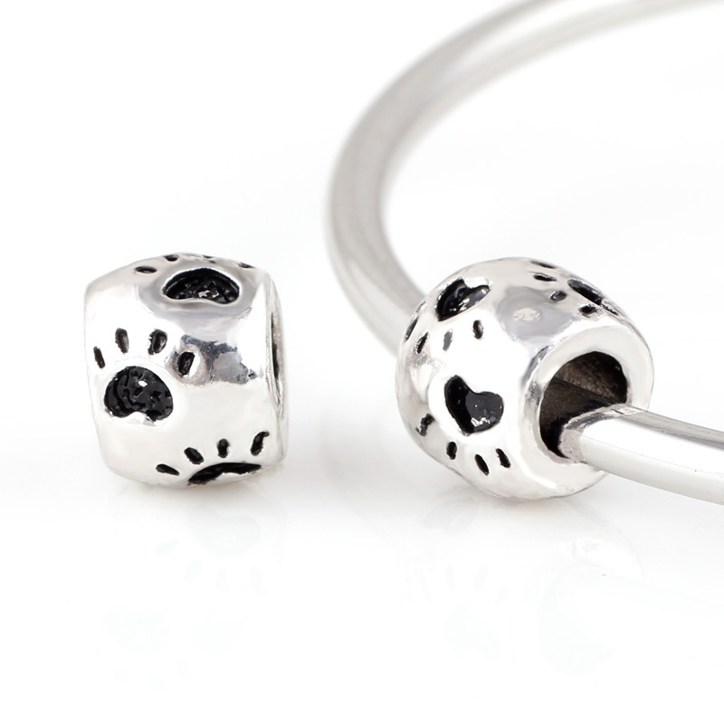 10 Pcs a Lot Dog Footprints Silver Big hole Bead Spacer European Murano Czech DIY Bead Charm Fit For Pandora Charms Bracelet