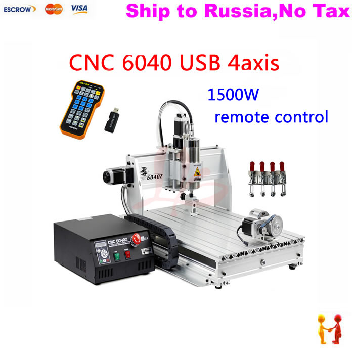 (NO TAX TO Russia) CNC6040Z-USB 4axis engraving machine with mach3 remote control with 1.5KW spindle and ball screw no tax to russia 4axis cnc metal engraving machine 8060 rotary axis 2 2kw spindle ball screw wtih mach3 remote control