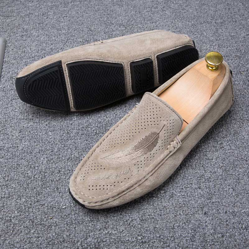 Mocassim Masculino Suede Leather Men Shoes Soft Moccasins Slip On Loafers Brand Mens Flats Summer Breathable Driving Shoes Khaki