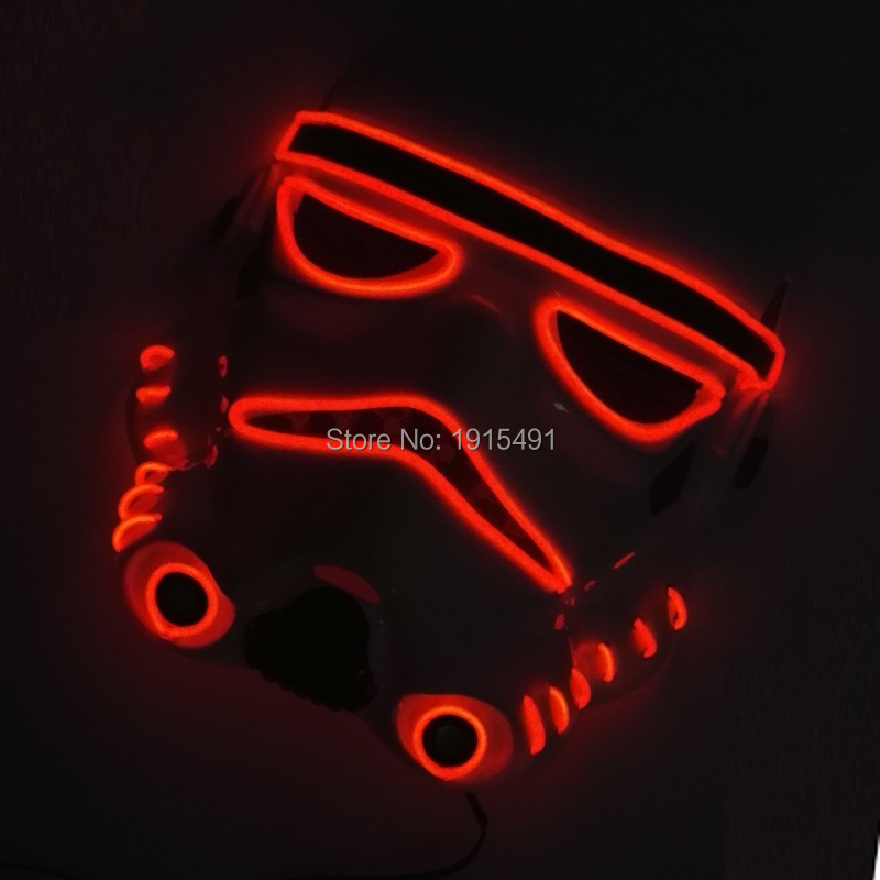 New Arrival Trendy Colorful Glowing EL wire Scared Mask Novelty Lighting Sound Active LED Neon Mask for Ball Party,Carnival