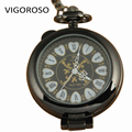 Classical Heart Pattern Fashion Transparent Pocket Watch Full Hunter Mechanical Hand Winding Watches Black Alloy Clock