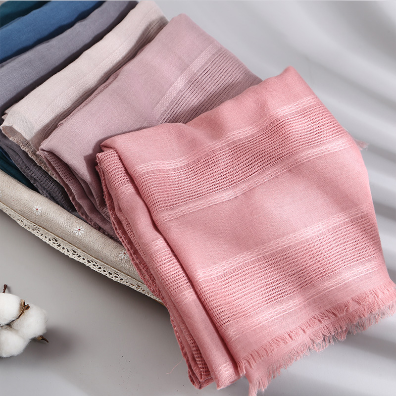 Image 5 - Solid Color Scarf Cotton Linen Ethic Hollow Cut Scarf Fringes  Large Wraps Stoles Muslim Hijabs Scarves Islam Wrap HijabWomens  Scarves