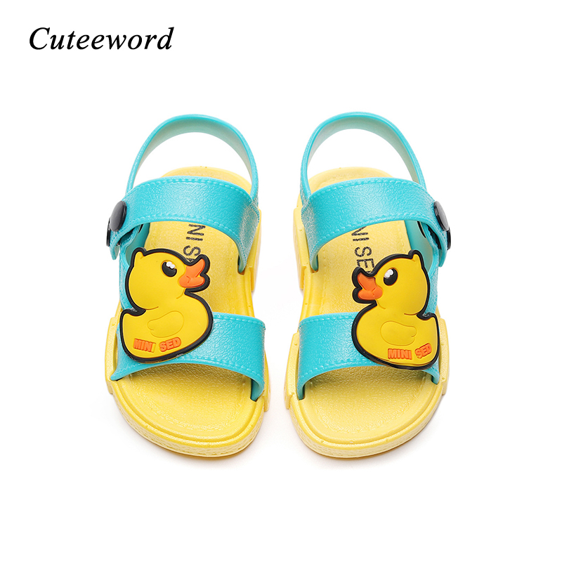 Newest Kids Sandals Cartoon Duck Children Shoes Toddler Boys And Girls Jelly Shoes Non-slip Soft Fashion Kids Casual Sandals