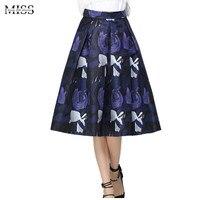 MISSFEBPLUM 2017 Summer Autumn Vintage Women Midi Skirt Elastic High Waist Pleated Ball Gown Skirts Femininas
