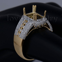 Romantic Engagement Cushion 7x9mm 18Kt Yellow Gold Natural Diamond Semi Mount Ring SR060