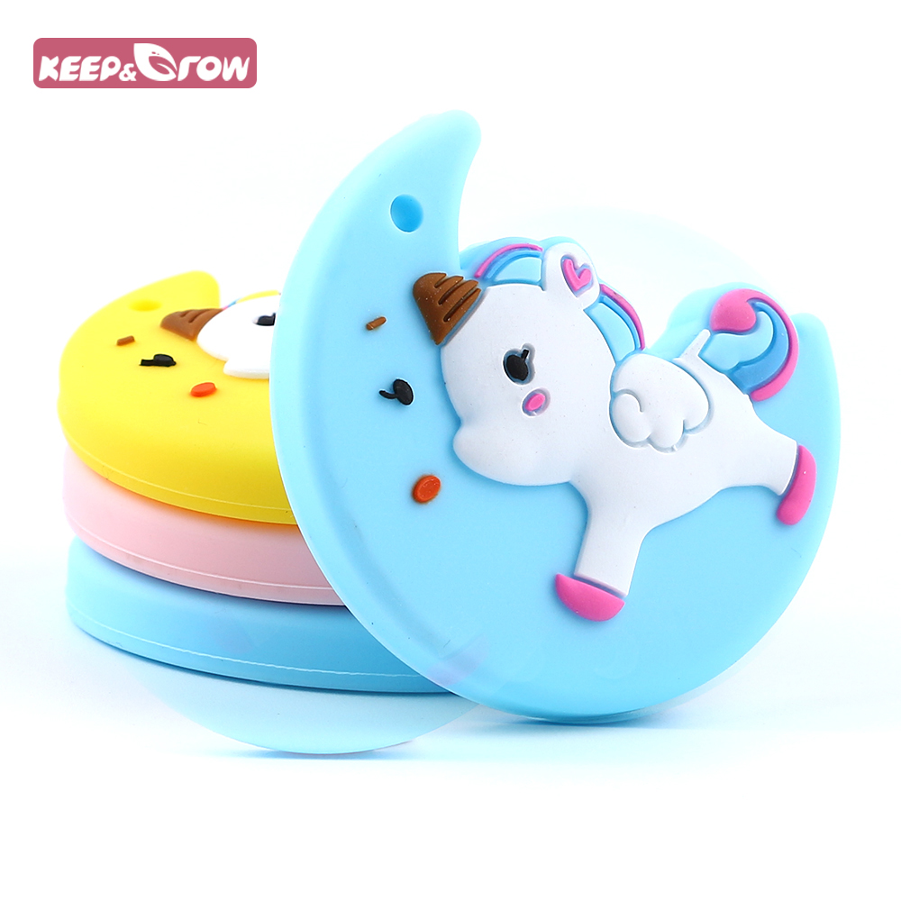 Keep&Grow BPA Free 1Pc Baby Teethers Moon Unicorn Silicone Teether Beads Food Grade Baby Teething Toys DIY Necklace Pendant
