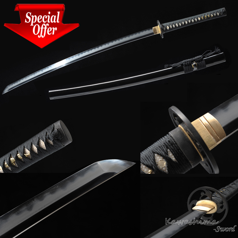 1095 Steel Clay Tempered Real Hamon Handmade Katana Full Tang Samurai Sword Sharpness For Cutting Bamboo