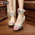 Лето весна 5 см женские танкетке обувь женская Мода цветок вышитые туфли на платформе женщин конструкции насосы обувь для леди