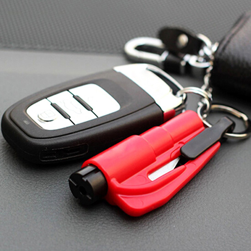 Multiuse Car Emergency Rescue Safety Glass Breaker LED Keychain Hammer Charm