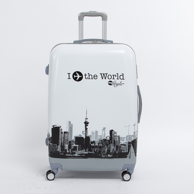 Wholesale!male and female 20 inch pc the world travel luggage bags on universal wheels,high quality plane printed luggage bags