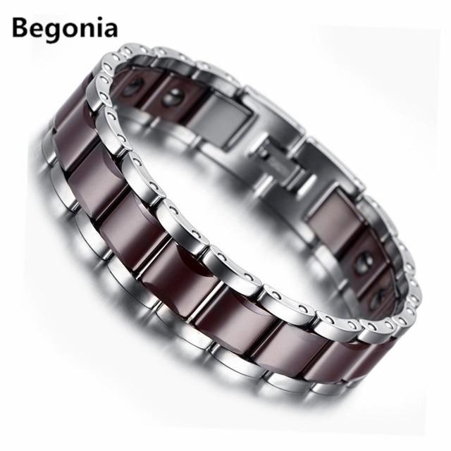 Fashion Tungsten steel bracelet Mens magnetic bracelet germanium biomagnetic health bangles