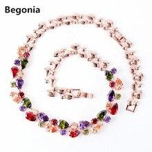 Geométrica teardrop Chapado En Oro Rosa Collares de Oro AAA Cubic Zirconia collares para las mujeres de la borla de la Joyería