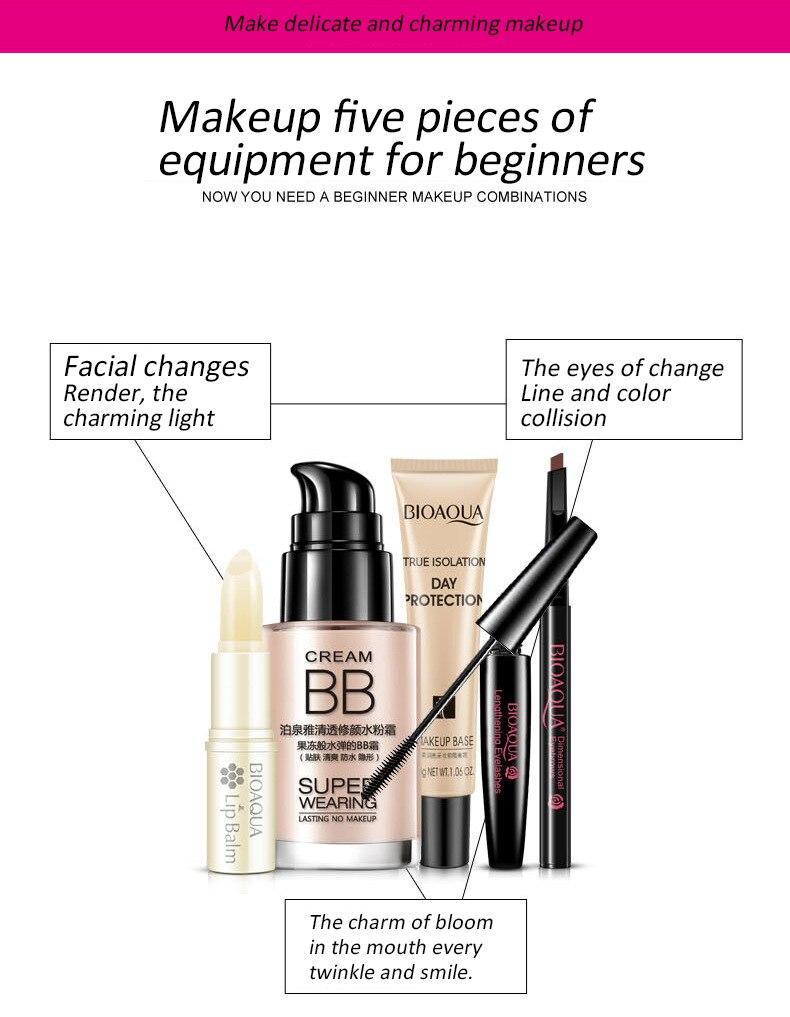 Bioaqua Bright Cosmetics Makeup Set Lip Balm Bb Cream Eyebrow Pencil Aloe Vera Picture