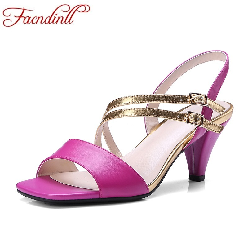FACNDINLL woman shoes 2018 fashion summer women sandals genuine leather middle heels open toe shoes woman office dress sandals summer mother shoes woman genuine leather soft outsole open toe sandals casual flat women shoes 2018 new fashion women sandals