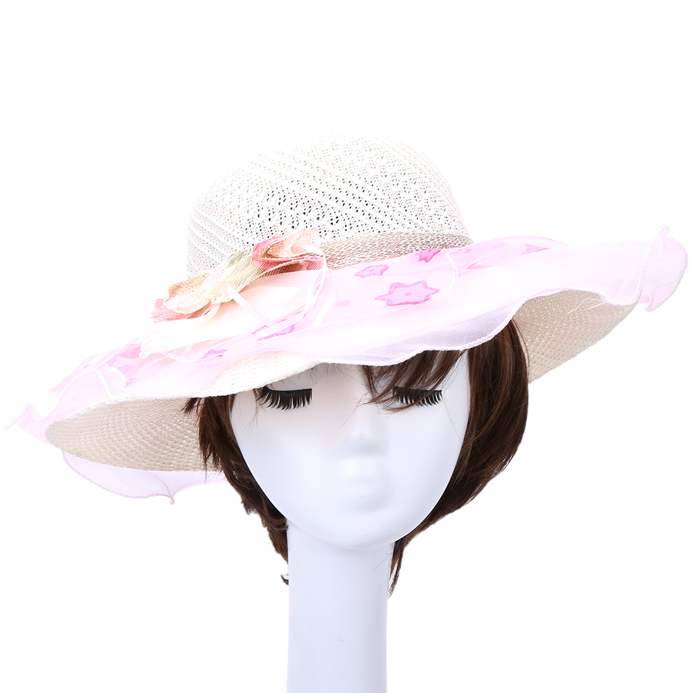 Wide Brim Lace Sun Hats for Women Soft Color British Style Star Print  Lady s Hats Beach Party Picnic Outdoor Hats for Women New d09c47bdc926
