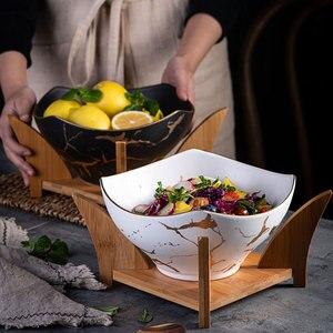 Image 2 - Cuenco nórdico original para ensalada, 1 Uds., vajilla de cerámica para el hogar de mármol, tazón de sopa, cuencos grandes, tazón de mezcla