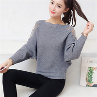 53 autumn style dress Word collar sweater hollow out lace loose batwing coat F1964