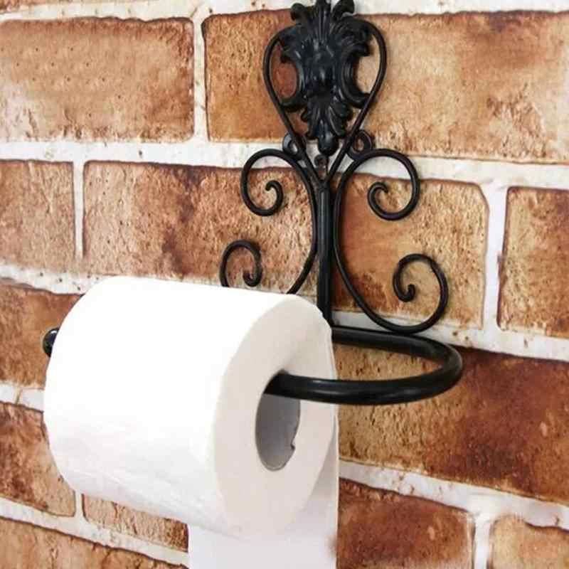 1 PC Vintage czarny uchwyt na papier żelaza rolka papieru toaletowego uchwyt na uchwyt ścienny do łazienki wieszak na ręczniki wc uchwyt na papier