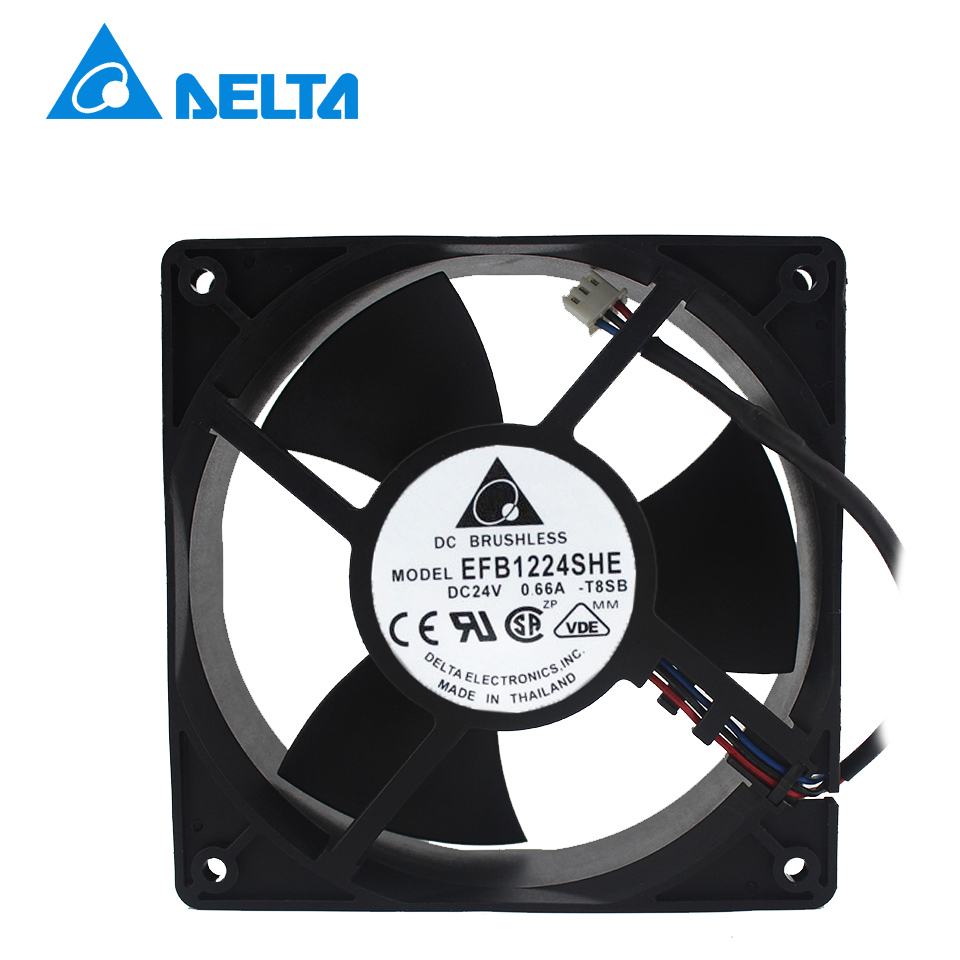 Shipping New EFB1224SHE 24V 0.66A 12cm12038   inverter cooling fan Delta delta 12038 fhb1248dhe 12cm 120mm dc 48v 1 54a inverter fan violence strong wind cooling fan