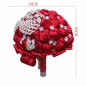 Image 5 - WIFELAI A Wine Red Rose Brooch Throw Wedding Bouquets de mariage Polyester Bridal Wedding Bouquets Pearl Flowers W290 5