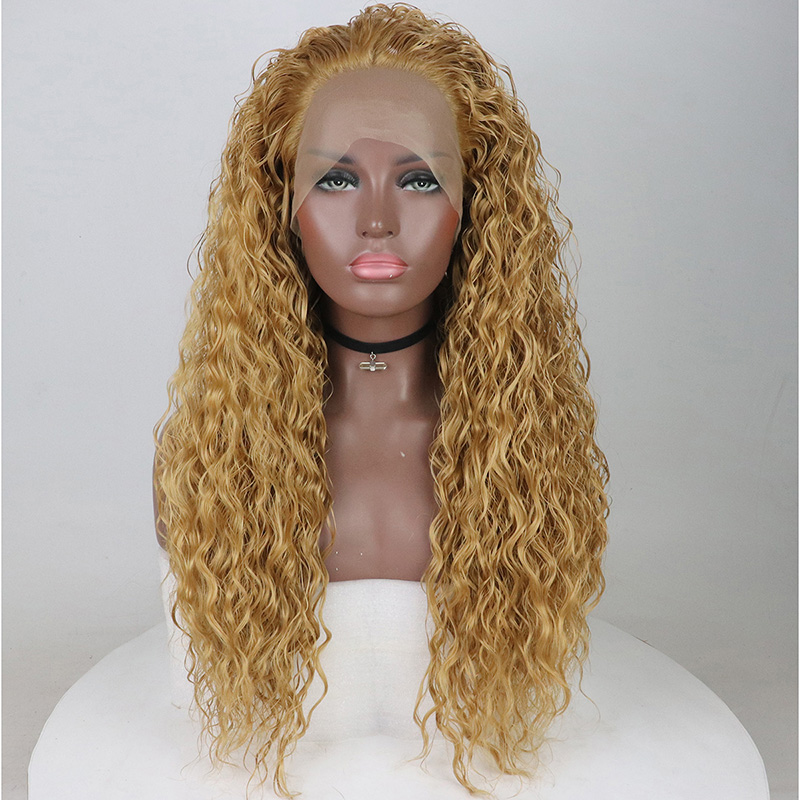 Fantasy Beauty Light Honey Blonde Long Water Wave Curly Heat Safe Fiber Hair Lace Front Wig Glueless Full Wig For Fashion Women