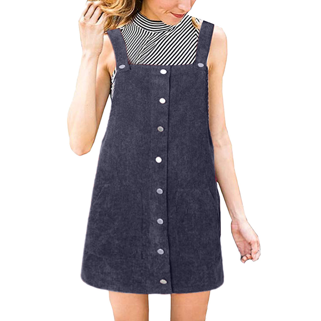 HTB1idGUa.LrK1Rjy1zbq6AenFXaU Free Ostrich 2019 Pink Wick Velvet Women Corduroy Straight Suspender Mini Bib Overall Pinafore Casual Button Dress Hot Sales