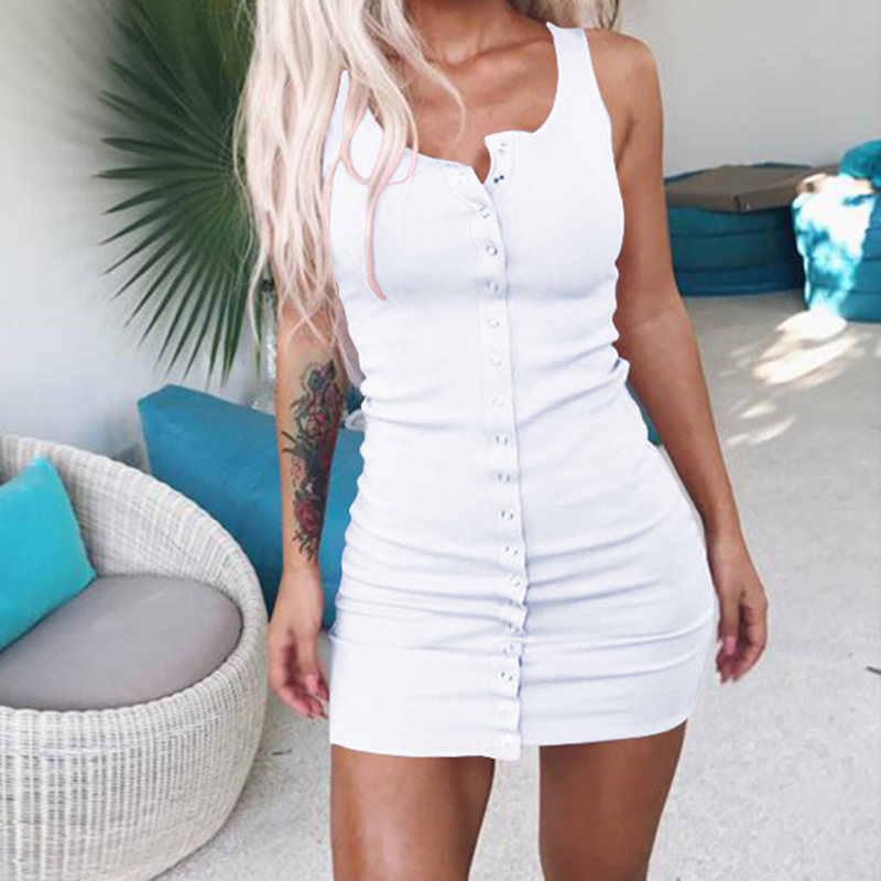 bf536477fda3 Knitted Ribbed Summer Mini Dress Elegant Sleeveless O-Neck Button Tank Dress  Sun Dresses Women
