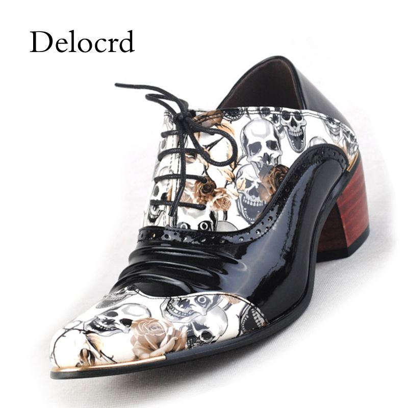 England Vintage Men Formal Dress Shoes Height Increasing Pointed Toe Hairstylist Banquet Wedding Shoes Luxury Men Oxford S