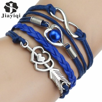 9 Color 2017 New Fashion Love Leather Bracelet Bead Heart Arrow Bracelets for Women Man High Quality Bracelet Best Birthday Gift 3