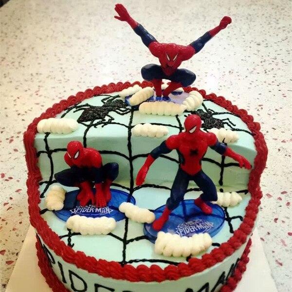 Aliexpress Buy Boy Birthday Cake Topper 7pcs Spider Man Pvc