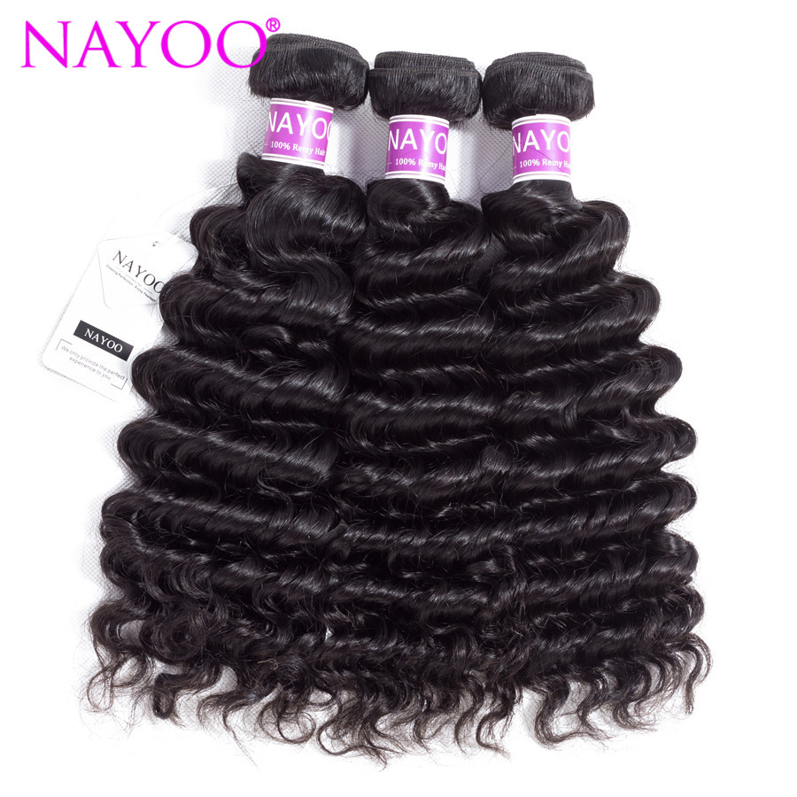 NAYOO 100% Human Hair 3 Bundles Brazilian Deep Wave Hair Weaving 8-26 Inches Natural Color Remy Hair Extensions