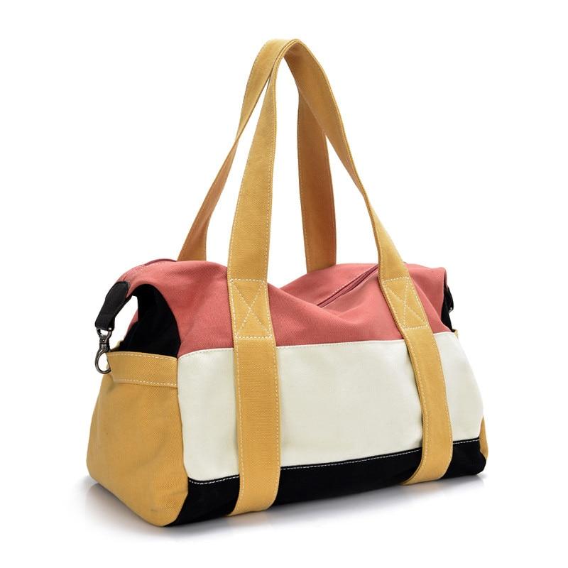 KUNDUI suitcase women leisure handbag shoulder Messenger bag men Splicing Hit color travel bags canvas portable