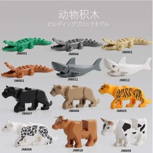 For lgoing Panther Snow Leopard Crocodile Tiger Animal Cow Cattle Horse Shark Model Building Blocks Set Bricks kits Toys jm118