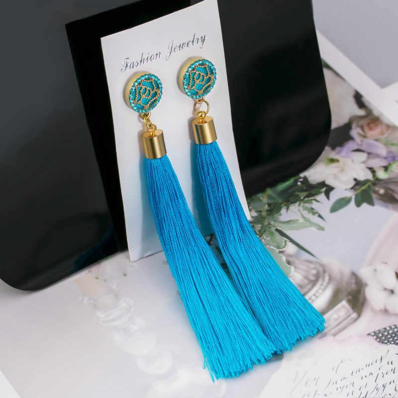 POXAM модные богемные шелковые ткани длинные серьги с бахромой 2019 для женщин массивные Свадебные украшения pendiente Подвесные серьги с кисточкой