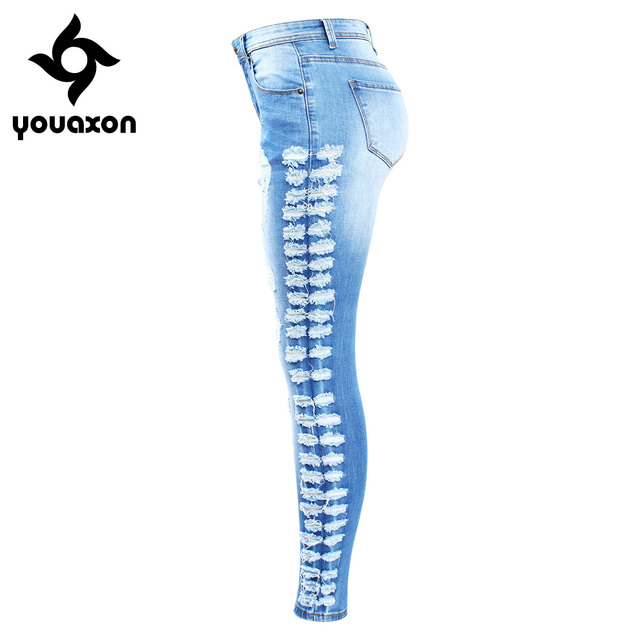 New Arrived Women Plus Size Stretchy Ripped Side Distressed Skinny Pencil Modern Elegant Denim Jeans