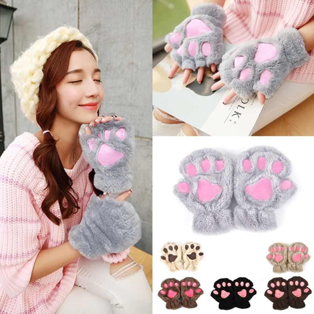 2019 冬の素敵な女性熊猫爪足ミトンぬいぐるみグローブショートフィンガーハーフ手袋レディースハーフカバー女性手袋
