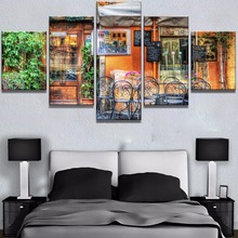 Framed 5 Piece Canvas Art Vintage Bar Poster Cuadros Decoracion Paintings on Wall for Home Decorations Decor