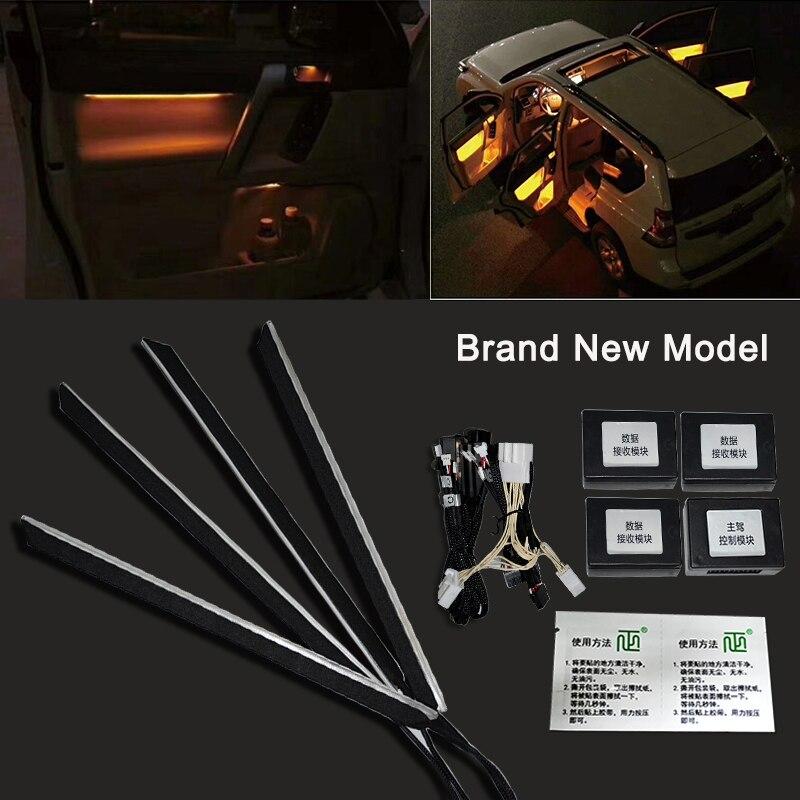 Автомобильный светодиодный атмосферный светильник, пригодный для Prado, окружающий светильник, автомобильный Overbearing 2010 2018, интерьер, ремонт, дверная панель, декоративный светильник