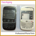 Original para blackberry 8520 tampa da caixa completa + teclado + botão lateral + lente, branco/blackColor, Transporte livre com o logotipo