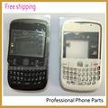 Original para blackberry 8520 tapa de la carcasa completa + teclado + botón lateral + lente, blanco/blackColor, envío Libre con el logotipo