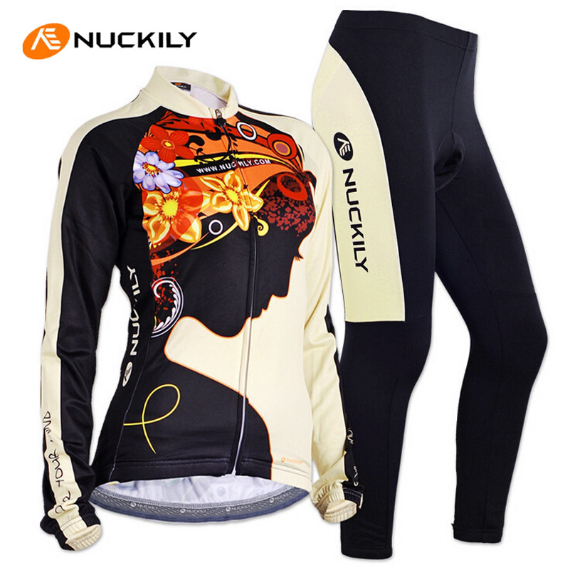 цена на NUCKILY Women Cycling Jersey Set Long Sleeve Jacket Tight Pants Sport Jerseys Roupa Feminina MTB Bike Bicycle Cycling Clothing