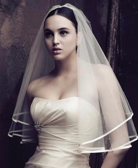 Cheap Wedding Veil Ribbon Edge Two Layer Bride Bridal With Comb 2017