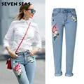 2017 New Fashion Ladies Rose Embroidery Jeans Women Mid Waist Casual Loose Straight Jeans Plus Size Denim Pants