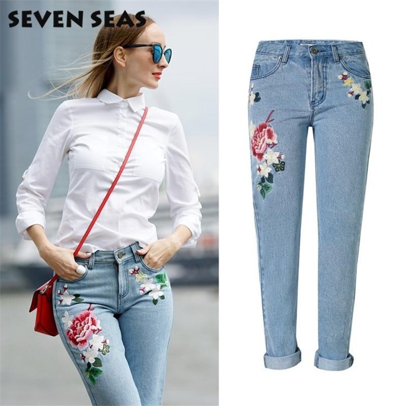 Nové módní dámské růže vyšívané džíny ženy v polovině pasu ležérní volné rovné džíny plus velikosti džínové kalhoty