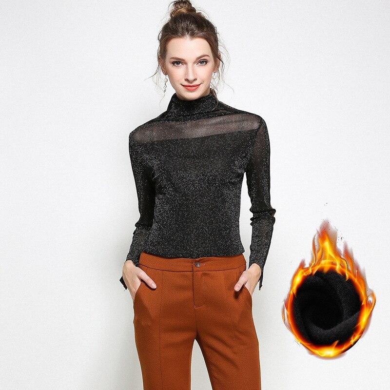 Nouveau 2017 automne hiver mode dames col roulé chaud polaire blouse femme sexy cultiver décontracté tops basiques grande taille M-XXXXXL