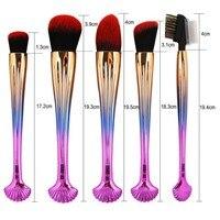 10pcs Professional Shell Makeup Brushes Set Foundation Face Eyeshadow Powder Lip Blush Contour Cosmetic Maquiagem Tools