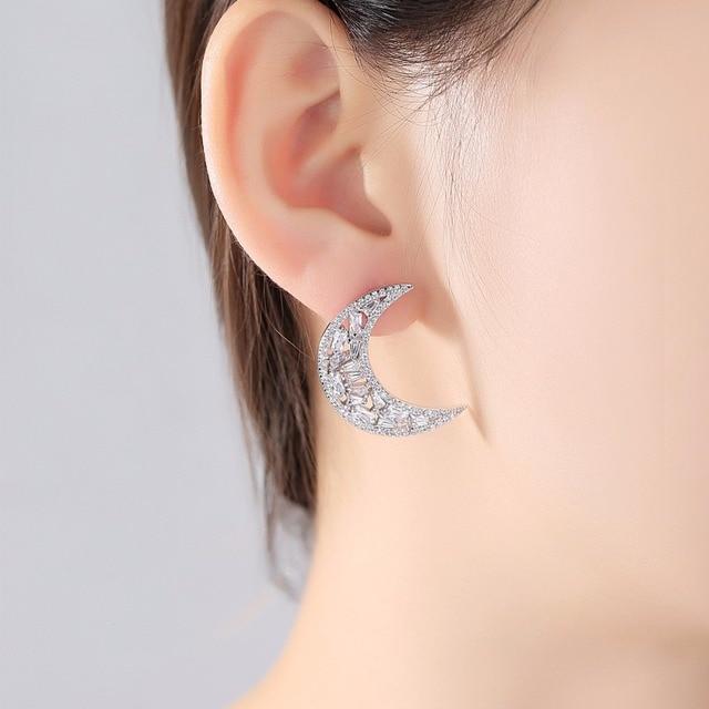 SINZRY blanc clair nouvelle lune et étoile éblouissante cubique zircon boucles doreilles pour les femmes inégale boucle doreille Bijoux de mode Brincos Bijoux