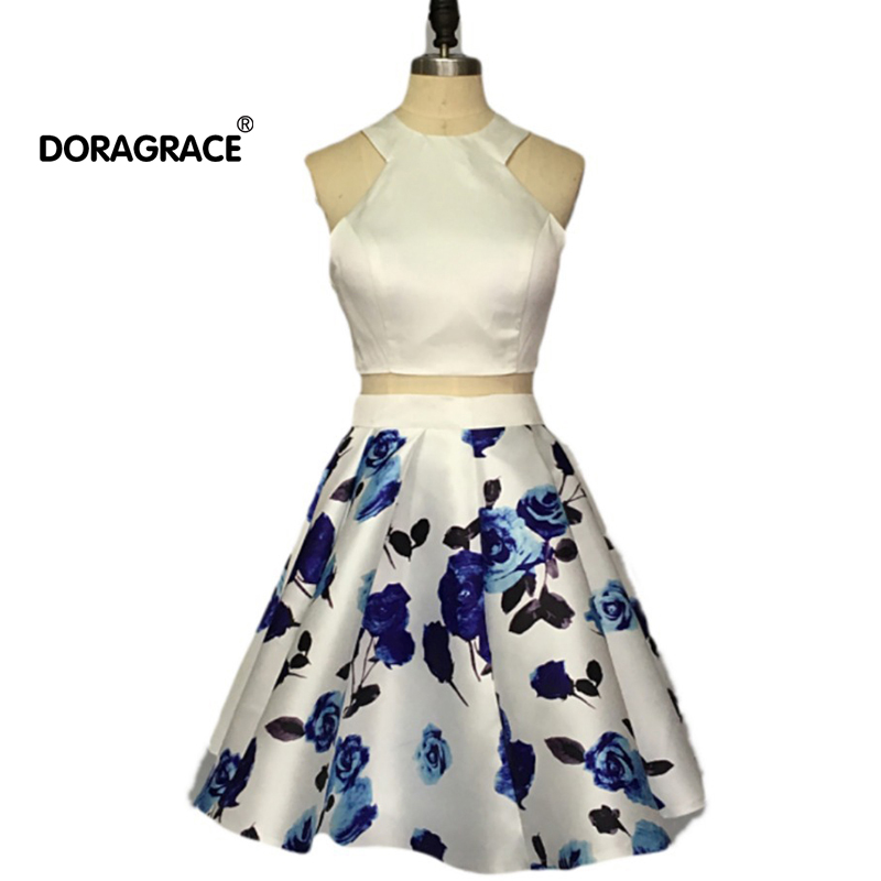 Doragrace Actual Images Two-Piece Floral Print Short Satin Cocktail Party Dress Homecoming Short Dresses